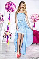 Нарядное женское длинное платье материал шифон и атлас с ассиметричной длинной юбкой. Цвет голубой