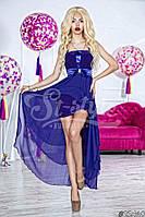 Нарядное женское длинное платье материал шифон и атлас с ассиметричной длинной юбкой. Цвет электрик