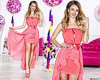 Нарядное женское длинное платье материал шифон и атлас с ассиметричной длинной юбкой. Цвет персиковый