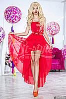 Нарядное женское длинное платье материал шифон и атлас с ассиметричной длинной юбкой. Цвет красный