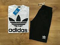 Шорты и футболка Adidas, белая футболка и черные шорты, хлопок, S, M, L, XL