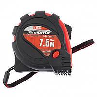 Рулетка Status magnet 3 fixations, 7,5 м х 25 мм, обрезиненный корпус, зацеп с магнитом// MTX 31006