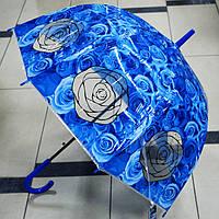 Зонт  женский прозрачный цветы