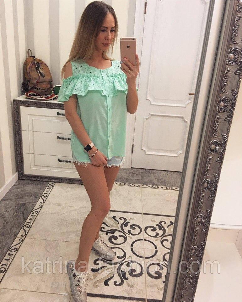 Женская модная хлопковая блуза с прошвой (6 цветов)