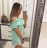 Женская модная хлопковая блуза с прошвой (6 цветов), фото 3