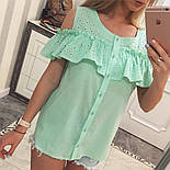 Женская модная хлопковая блуза с прошвой (6 цветов), фото 4