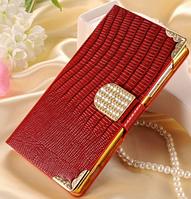 Роскошный чехол-книжка для HTC One M7 красный