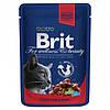Консервы Brit Premium для кошек с тушеной говядиной и горохом, 100 г