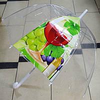 Прозрачный женский зонт трость грибком