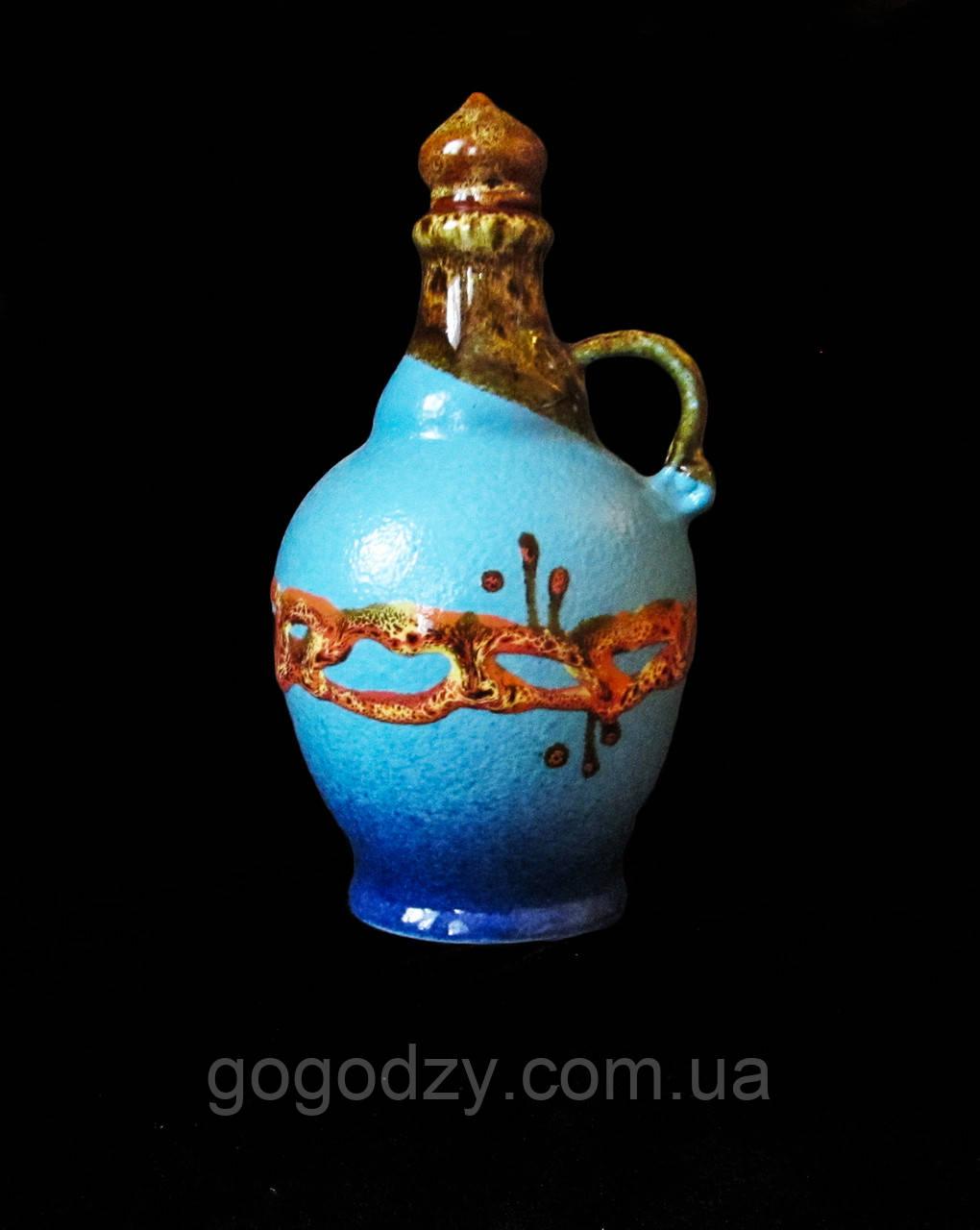 """Пляшка , декор """"Крайка"""", блакитна"""