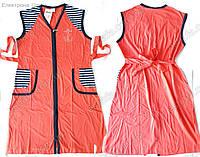 Женский летний трикотажный халат на молнии, M-XL, 4 расцветки