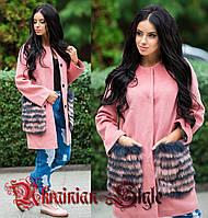 Женское  демисезонное шерстяное пальто  с меховыми карманами