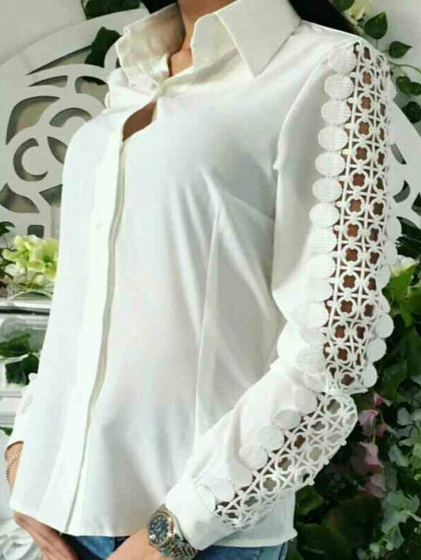 Рубашка с ажурными рукавами женская, фото 1
