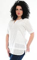 Блузка женская белая с прошвой, р-ры 48-54
