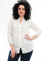 Блузка женская белая с рукавом, р-ры 48-54