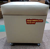 Пуф на резиновых колесах с ящиком