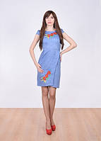 Платье цвета джинс с вышитыми маками, васильками и колосками.