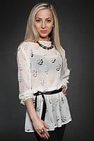 Нарядная белая блуза с перфорацией