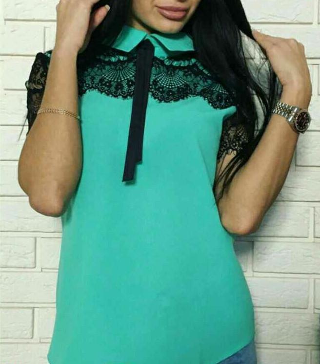 Блуза креп шифоновая с кружевом женская , фото 1