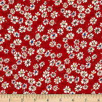 """Ткань для пэчворка и рукоделия американский хлопок """"Мелкие ромашки красные"""" - 22*55 см"""