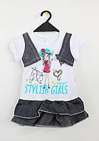 Платье с джинсовой рюшей для девочки 1,5-4 года