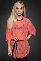 Летняя удлиненная блуза с поясом