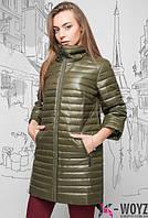Демисезонная стеганная куртка с рукавом 3,4 авакадо 42,44,46,48)