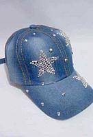 Модная кепка джинсовая со стразами «Три звезды»