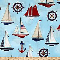 """Ткань для пэчворка и рукоделия американский хлопок """"Морские яхты на голубом"""""""