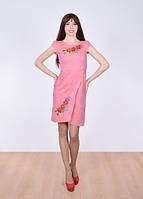 Платье нежное с вышитыми маками, васильками и колосками.