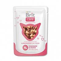 Консервы Brit Care Chicken & Duck для кошек с курицей и уткой, 80 г, фото 1
