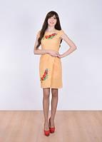 Платье персиковое с вышитыми маками
