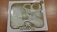 Набор для новорожденной в коробке (пинетки, колготы, повязка)
