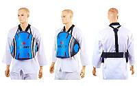 Защита корпуса (жилет) тренера PU ZEL ZB-5071-B (безразмерная, крепл. на липучках, черно-синяя)