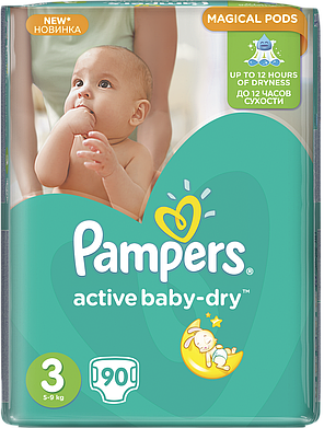 Подгузники Pampers Active Baby-Dry Размер 3 (Midi) 5-9 кг, 90шт, фото 2