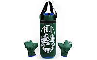 Боксерский набор детский (перчатки+мешок) L PVC UR BO-4675-G(L) (мешок h-52см, d-20см, зеленый)