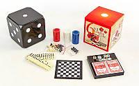 Набор настольных игр 6 в 1 341-166 (покер, карты, домино, шахматы, нарды, кости)