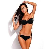 Красивый женский купальник бандо push –up черного цвета