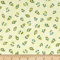 """Ткань для пэчворка и рукоделия американский хлопок """"Мелкие веточки цветы на светлом"""", 23*55 см"""