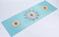 Коврик для йоги (Йога мат) замша, каучук 1мм двухслойный FI-5663-2 (1,83мx0,61мx1мм, голубой)