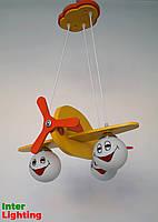 Люстра в детскую в виде самолета на три плафона