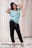 Штапельный костюм брюками большого размера Ягодки ментол