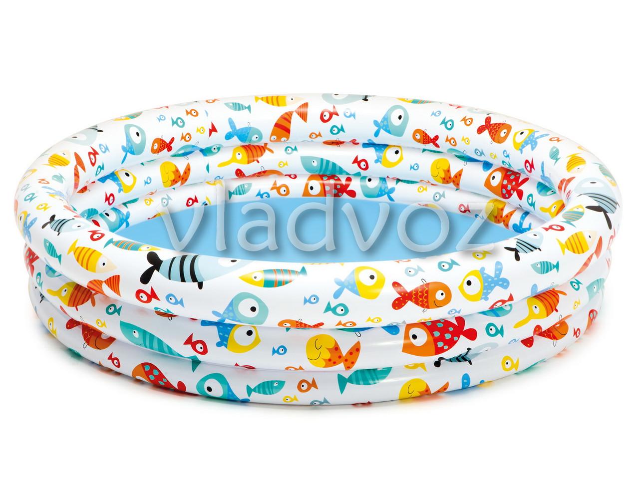 Детский надувной бассейн 3 кольца +мяч, круг 59469