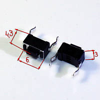 КНОПКА DIP 2 PIN 3*6*4.3 3x6x4.3 мм