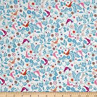 """Ткань для пэчворка и рукоделия американский хлопок """"Птички на веточках синих"""" - 25*55 см"""