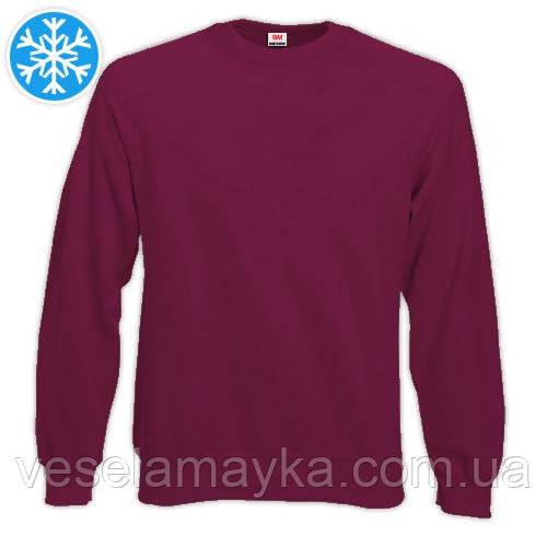 Утепленная мужская толстовка (реглан) бордового цвета