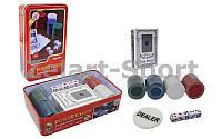 Покерный набор в металлической коробке-100 фишек IG-4591 (без номинала,1 кол.карт,5 куб)