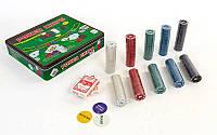 Покерный набор в металлической коробке-500 фишек IG-3006 (с номиналом,2кол.карт,полотно)
