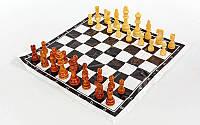 Шахматные фигуры деревянные с полотном для игр IG-4929 (3104) (дерево, h короля-8см)