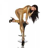 Сексуальный виниловый комбинезон золото